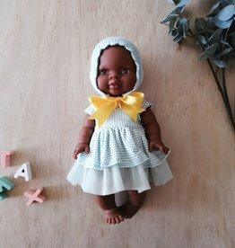 Paola Reina Vêtements de poupée - Robe turquoise, bonnet en tricot et boucle