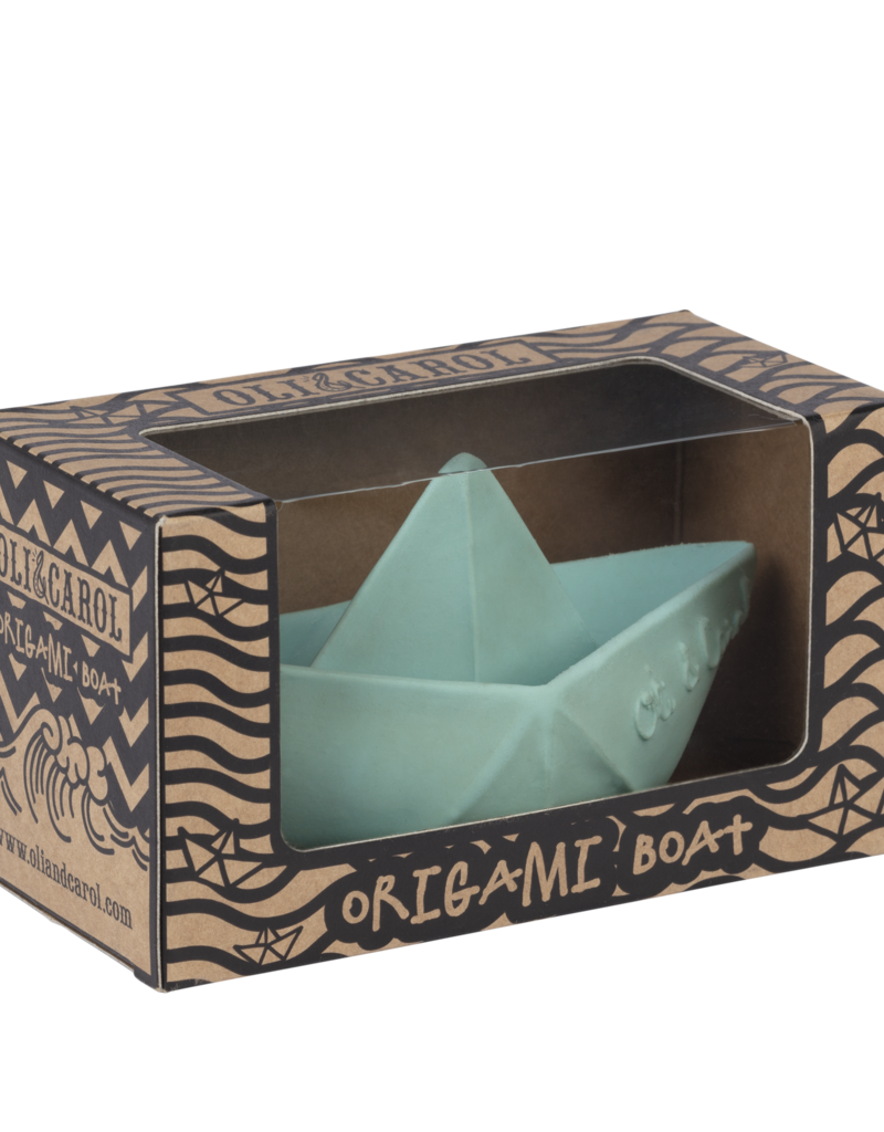 Oli & Carol Jouet de dentition - bateau en origami - menthe