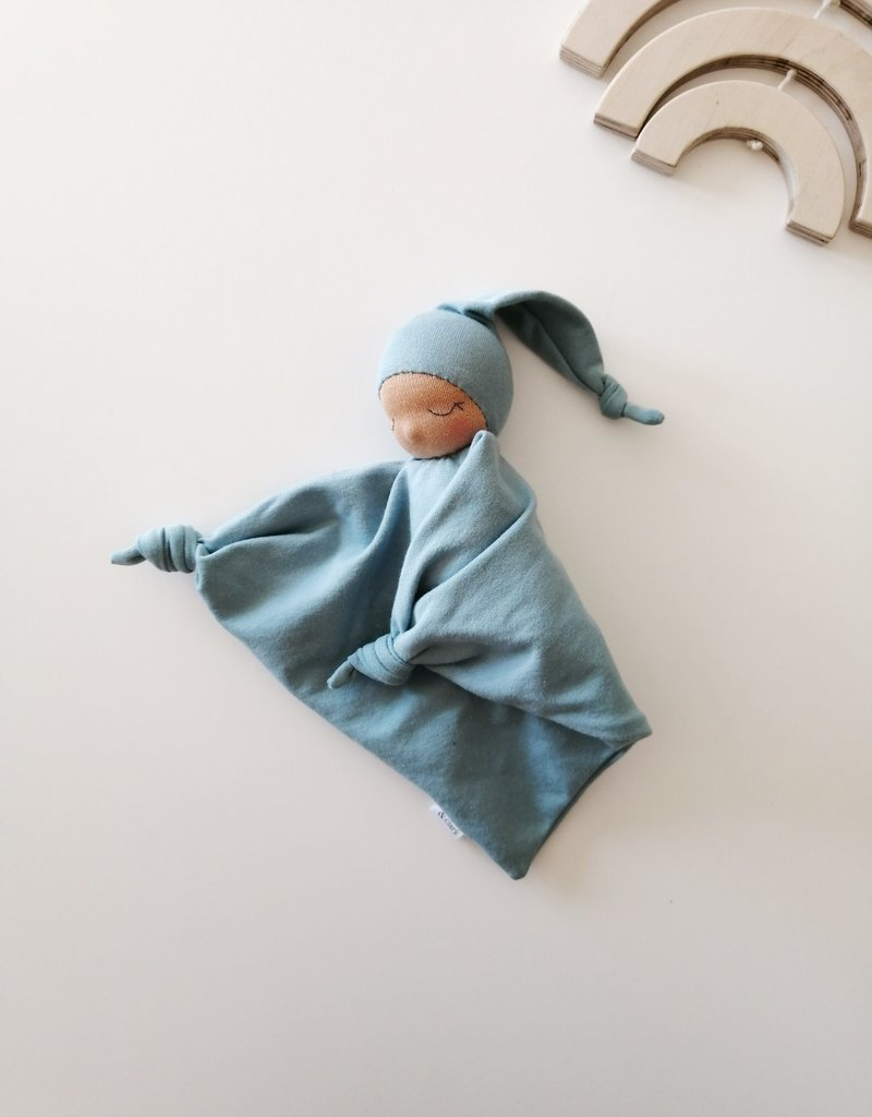 Comfrey & Clary Baby lovey waldorf - Organic bamboo jersey - Blue