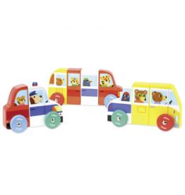 Vilac 3 magnetic wooden cars - Rigol'auto