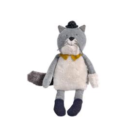 Moulin Roty Moustaches- Fernard light grey cat soft toy