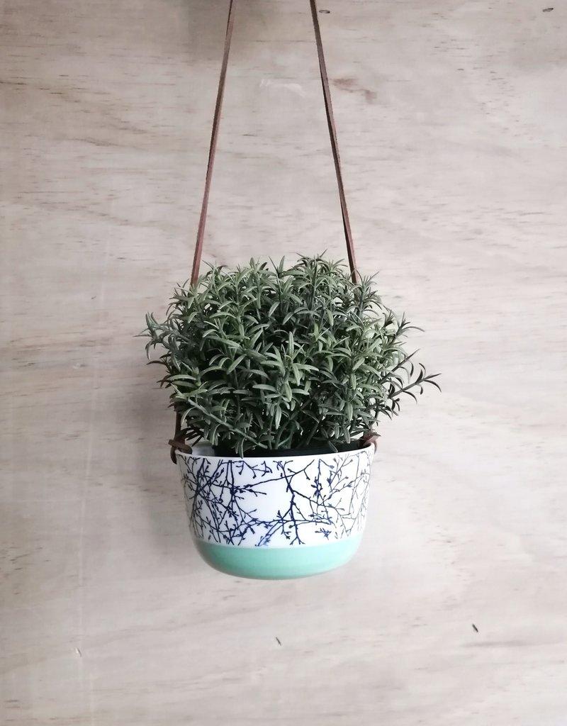 Stéphanie Fauteux - Céramiste Pot à fleur suspendu - Truquoise et branche
