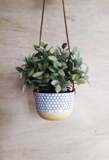 Stéphanie Fauteux - Céramiste Pot à fleur suspendu - Jaune et alvéole