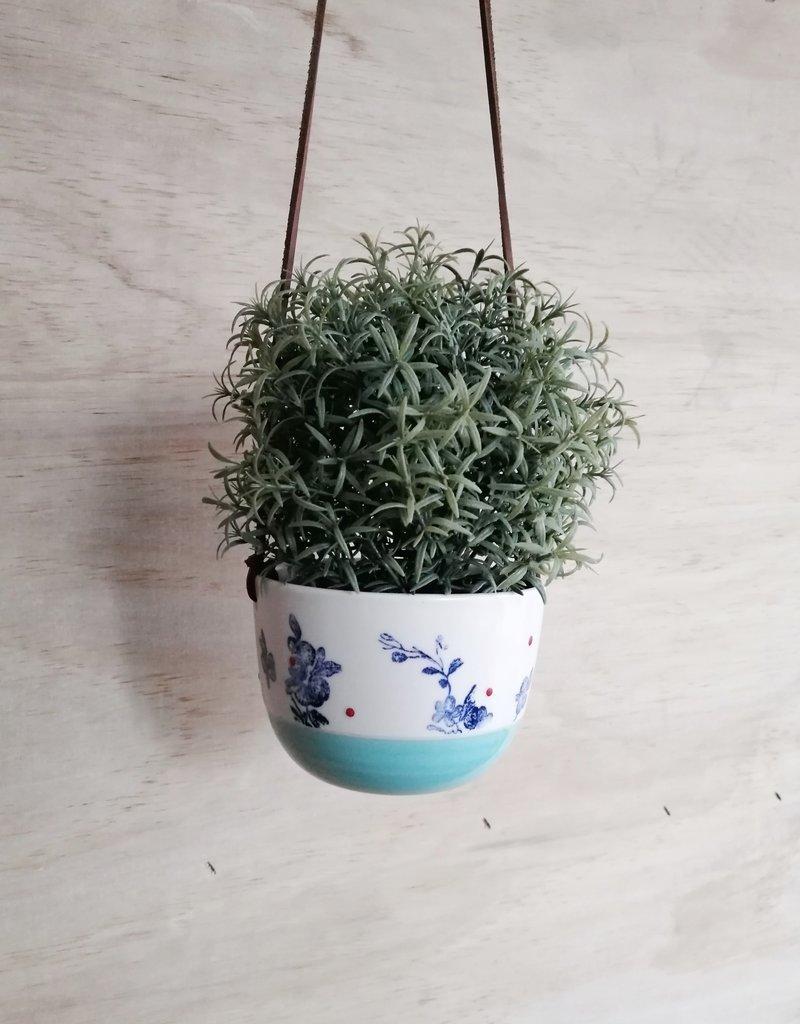 Stéphanie Fauteux - Céramiste Pot à fleur suspendu - Turquoise et Fleur