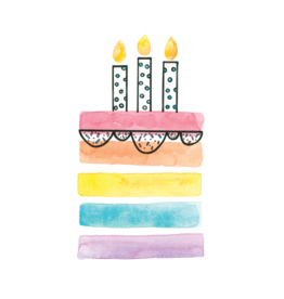 Stéphanie Renière illustration Greeting Card - Watercolor Party Cake