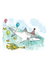 Stéphanie Renière illustration Carte de souhaits - Requin d'anniversaire
