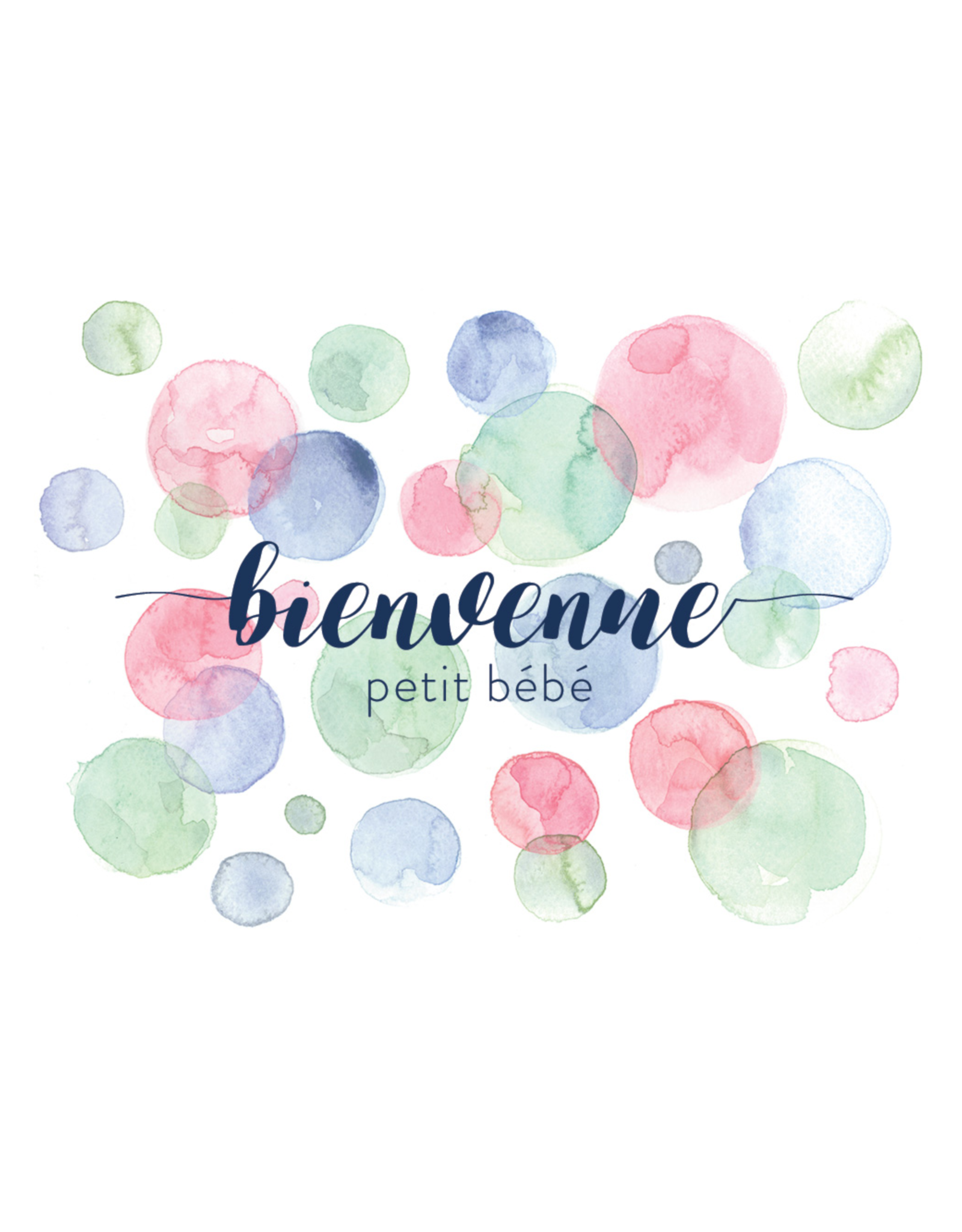 Stéphanie Renière illustration Greeting card - welcome little baby - round watercolor