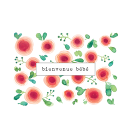 Stéphanie Renière illustration Greeting Card - Welcome Baby - Watercolor Flower