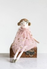 creativeco-op Cotton Doll - Pink Starry Dress