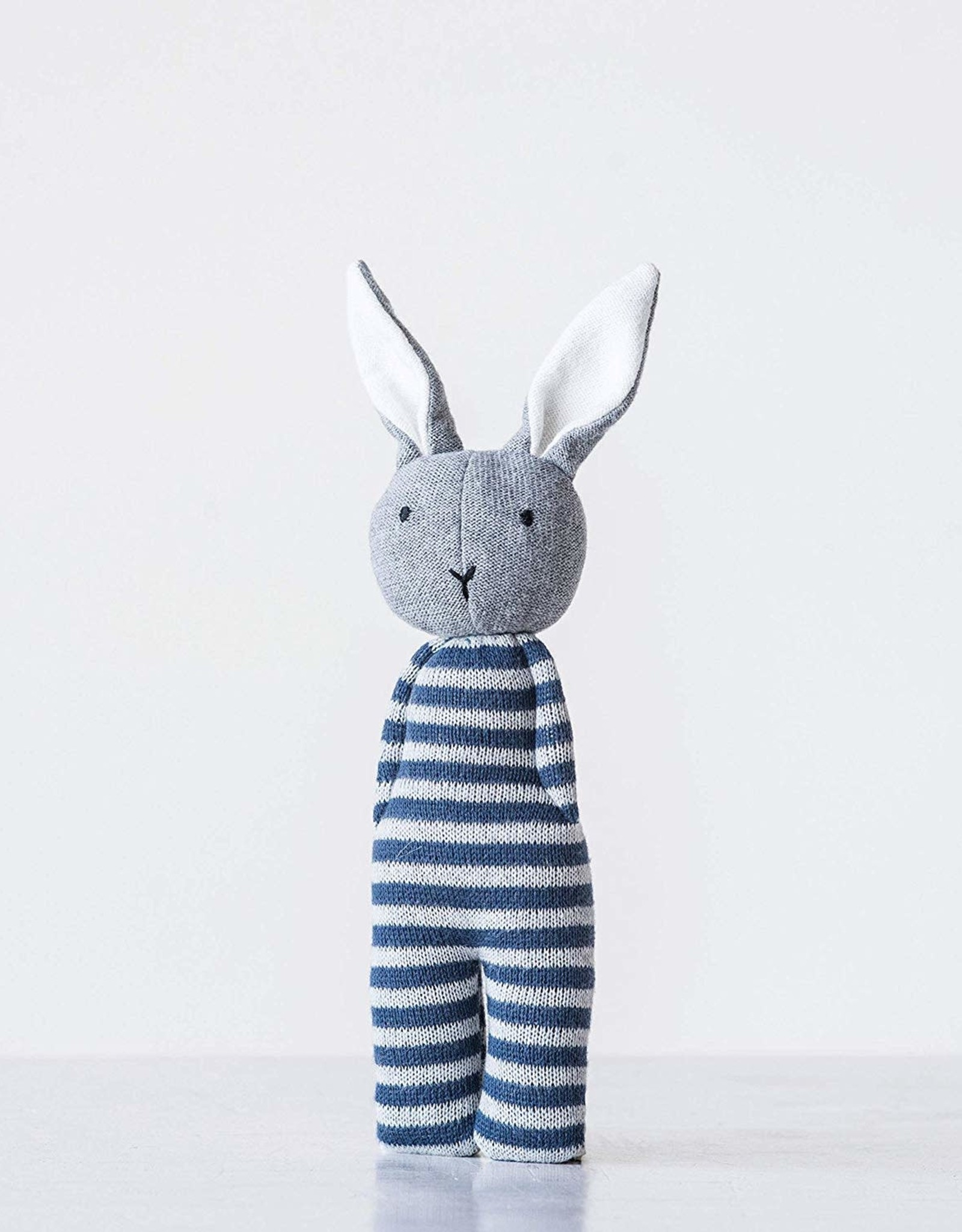 creativeco-op White and blue striped cotton rattle knit bunny