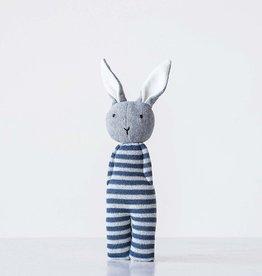 creativeco-op Hochet lapin en tricot - Rayé bleu et blanc