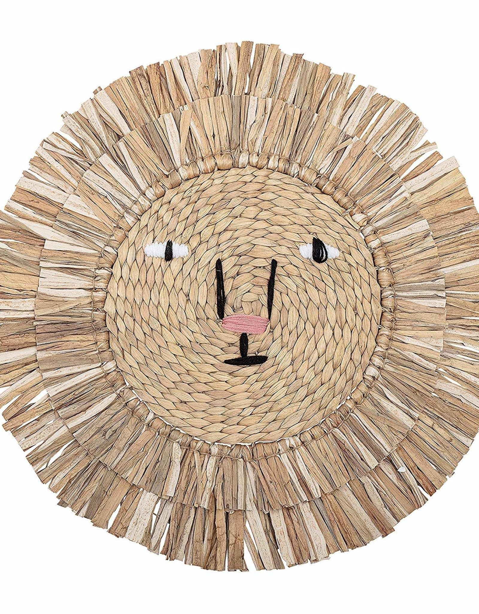 Bloomingville Round Water Hyacinth Wall Decor -Embroidered Lion Face