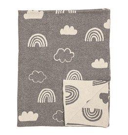 Bloomingville Couverture en trico - Arc-en-ciel gris