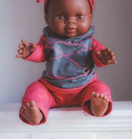 Fait par une maman Ensemble hoodie, pantalon et bandeau - Gris et rose rayé