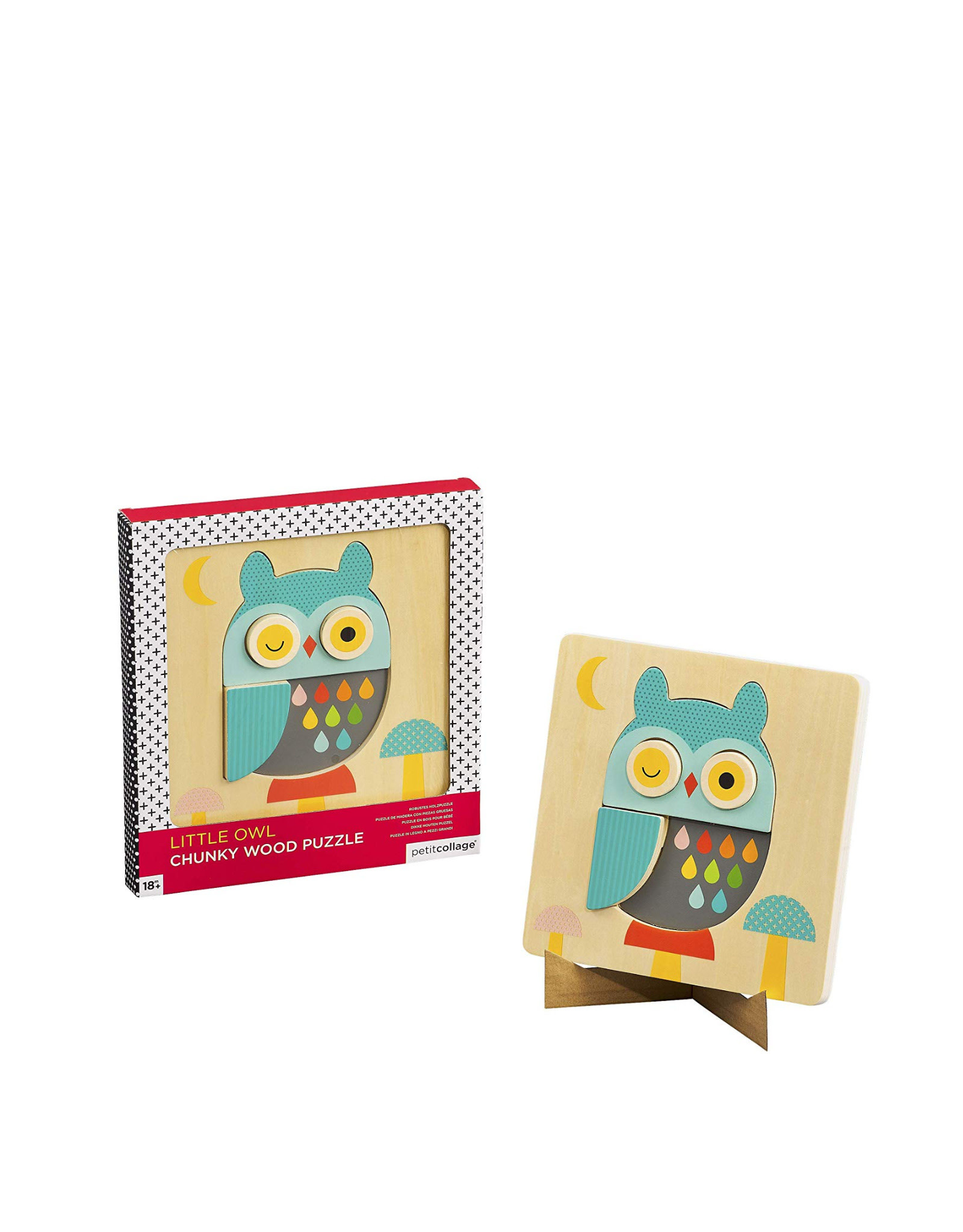 Petit Collage Little owl chunky wood puzzle