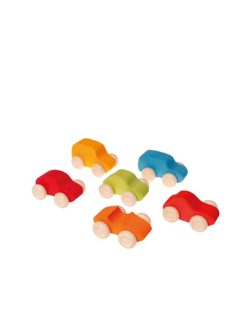 Grimm's 6 Wooden cars - Bright colors