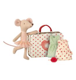 Maileg Souris ballerine avec sa valise à vêtements