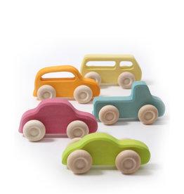 Grimm's 5 voitures en bois - couleurs vives