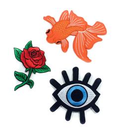Tattoo It Écusson thermocollant - ensemble poisson, oeil et rose