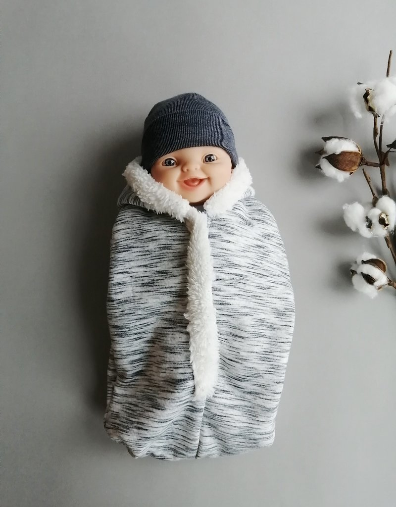 Paola Reina Cocoon + hat for doll - Grey