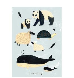 Petit Monkey Affiche - Animaux noir et blanc