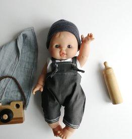 Paola Reina Poupée Bébé Albert avec salopette, camisole et tuque