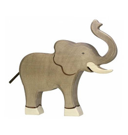 Holztiger Wooden animal - Elephant with truck raised