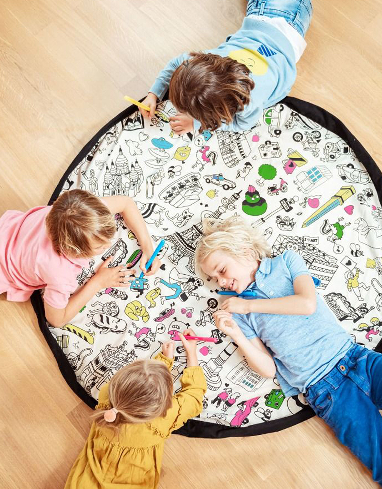 Play and Go Playmat and Storage Bag - Paris to color