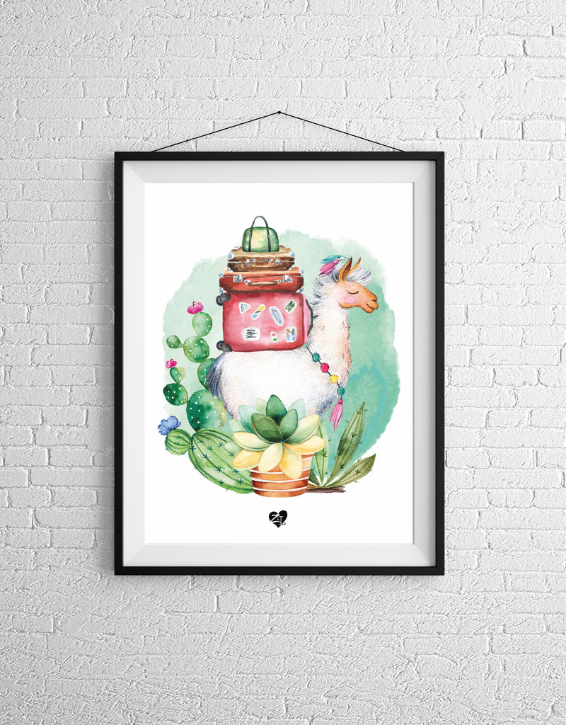 Zack et Livia Illustration - Alpaca and suitcase