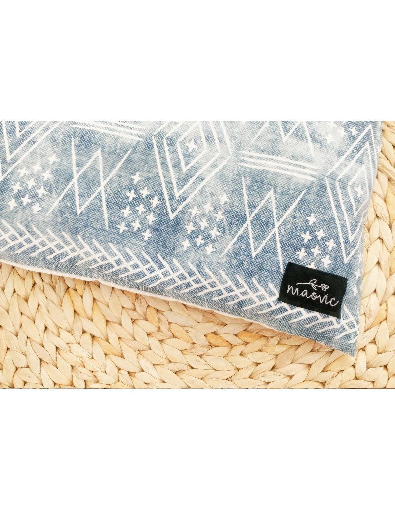 maovic Oreiller pour enfant - Écales de sarrasin - Symboles blancs sur fond bleu
