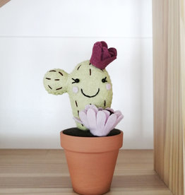 Pink Clémentine Felt cactus - Green, lavender and purple