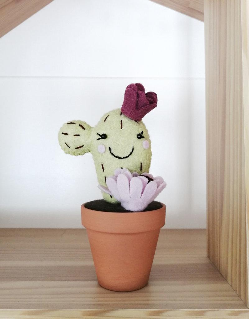 Pink Clémentine Cactus en feutrine - Vert, lavande et pourpre