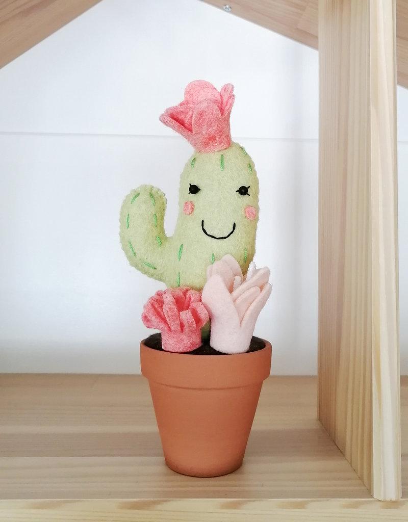 Pink Clémentine Cactus en feutrine - Vert et rose