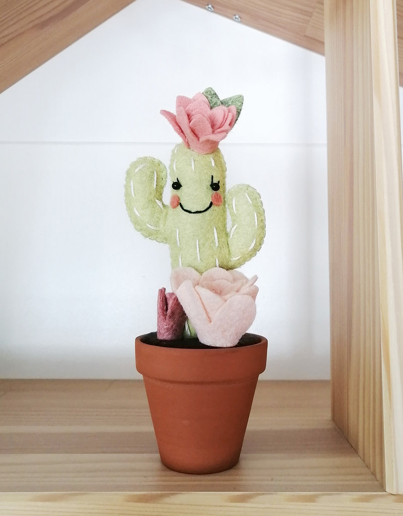 Pink Clémentine Felt cactus - Green and pink