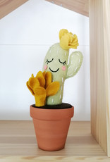 Pink Clémentine Cactus en feutrine - Vert et jaune