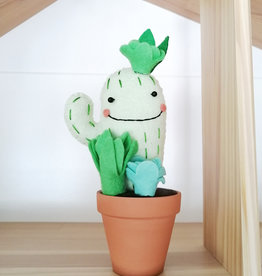 Pink Clémentine Cactus en feutrine - Vert et bleu