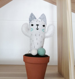 Pink Clémentine Felt Cat Cactus - Gray and turquoise