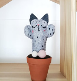 Pink Clémentine Felt Cat Cactus - Gray and Pink
