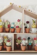 Pink Clémentine Cactus Chat en feutrine - Gris et rose