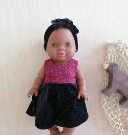 Fait par une maman Ensemble robe, culotte et bandeau - Bourgogne et noir scintillant
