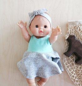 Fait par une maman Ensemble robe, culotte et bandeau - Haut Turquoise et Bas gris