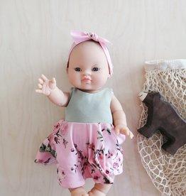 Fait par une maman Ensemble robe, culotte et bandeau - Haut Gris et Bas rose fleuri