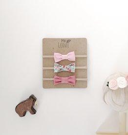 Mlle Léonie trio bandeau boucle papillon - rose pâle, fleur et rose vintage