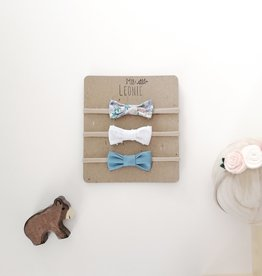 Mlle Léonie Set of three headbands - Bow Flowers/White/Blue