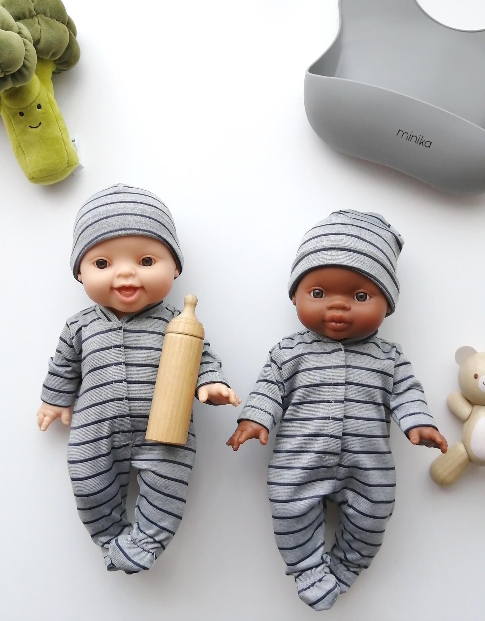 Paola Reina Doll pyjama - Grey and dark blue stripes