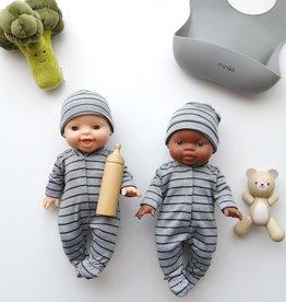 Paola Reina Pyjama et bonnet pour poupée - Rayé gris et marine