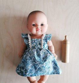 Paola Reina Ensemble robe, bandeau et culotte pour poupée Paola Reina - Fleurs bleues