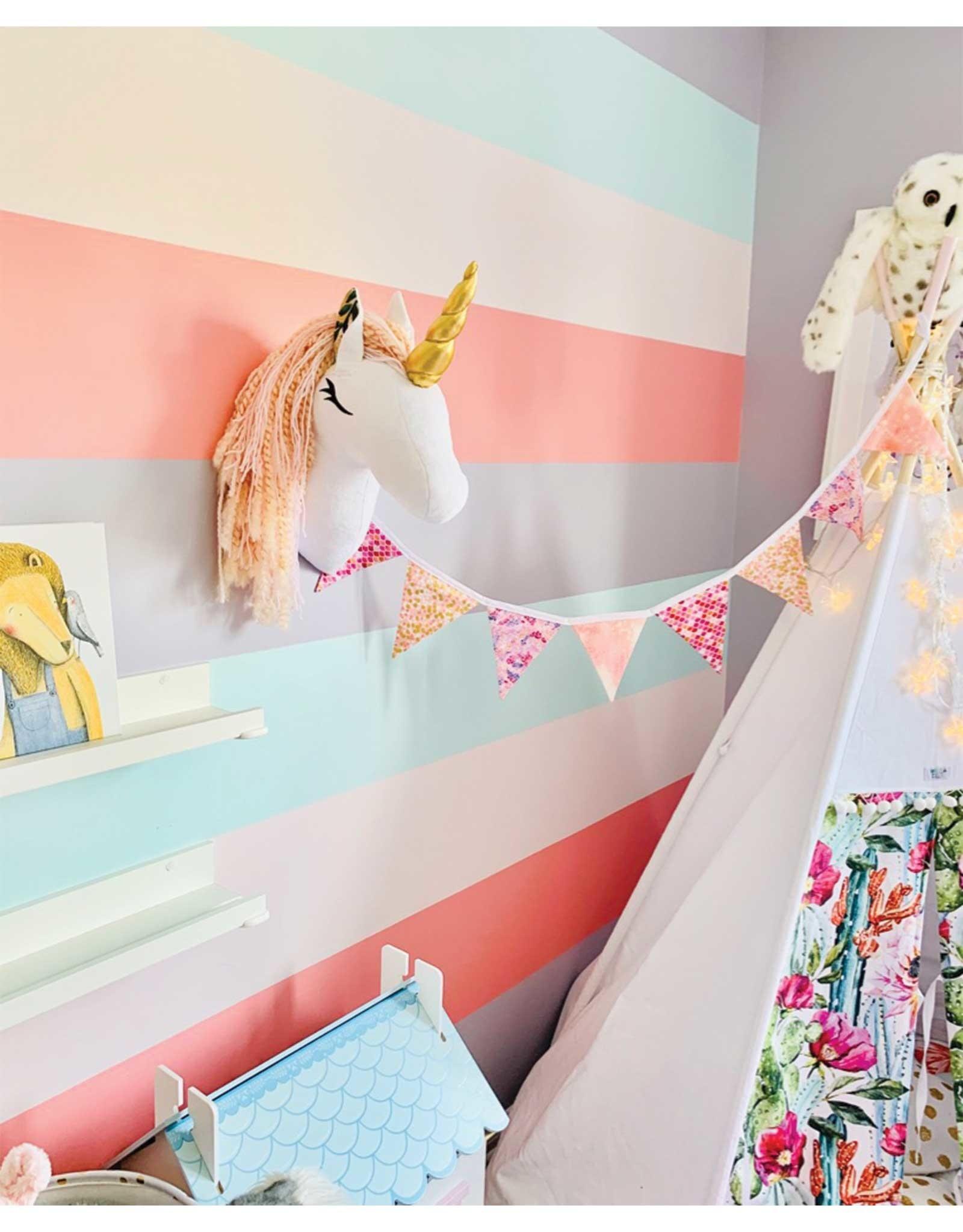 La petite renarde Wall Decoration - Pink Unicorn Colored Flowers