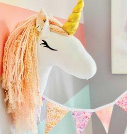 La petite renarde Tête animale murale - Licorne rose fleurs saumon