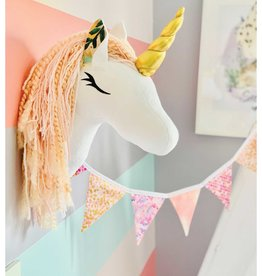 La petite renarde Wall Decoration - Pink Unicorn Colored Flowers